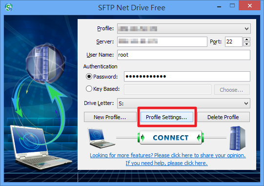 SFTP Net Drive - 進階設定