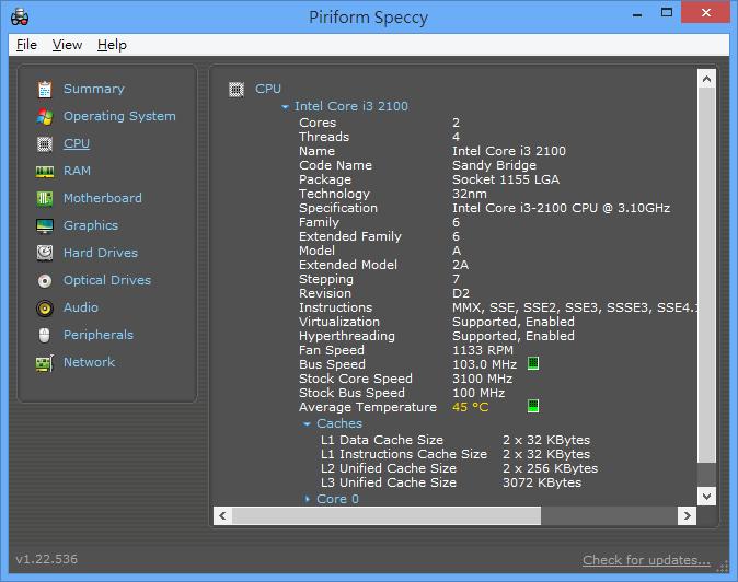 Speccy - CPU