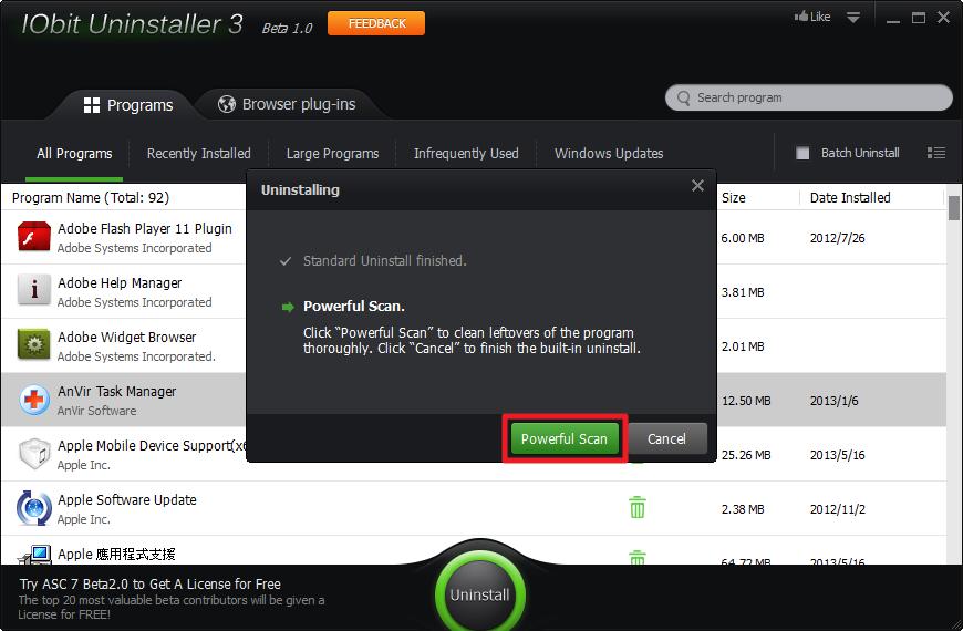 IObit Uninstaller 3 - Powerful Scan