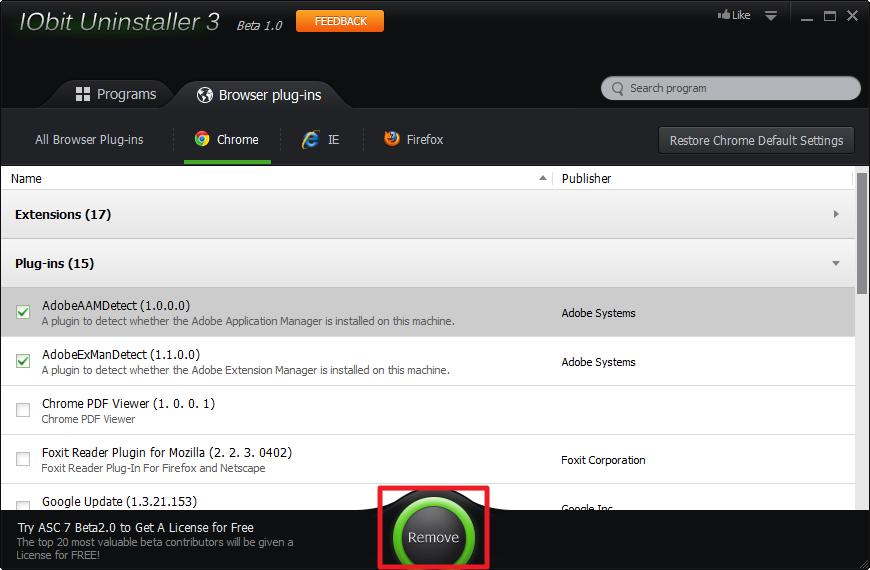 IObit Uninstaller 3 - 移除瀏覽器外掛