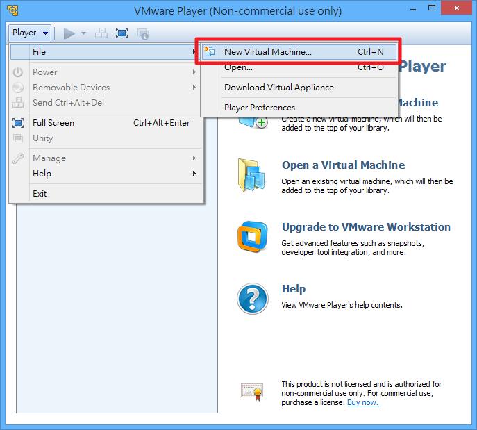 VMWare Player - 新建虛擬機器