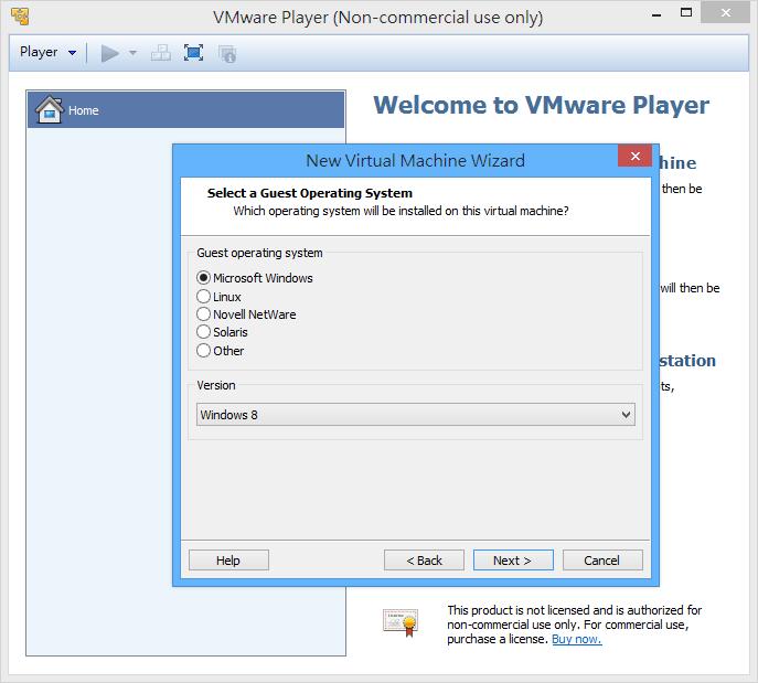 VMWare Player - 選擇作業系統類型