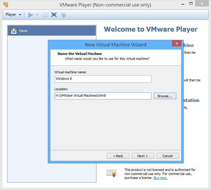 VMWare Player - 虛擬機器名稱