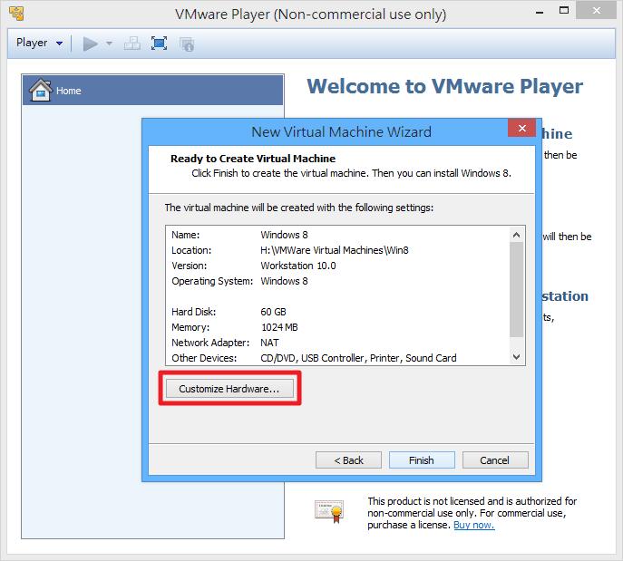 VMWare Player - 自訂虛擬機器硬體