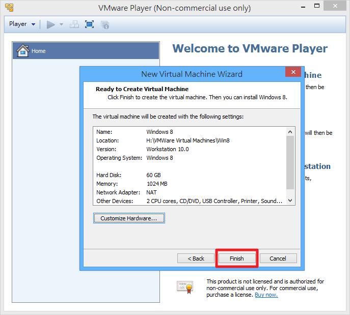 VMWare Player - 虛擬機器建立完成